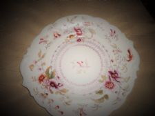 ANTIQUE CAKE PLATE HANDPAINTED WITH TEXTURED DETAIL 4278 WITH ARROW MARK
